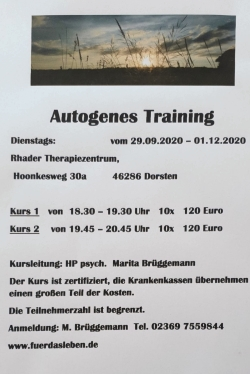 Autogenes Training in Dorsten ab September 2020