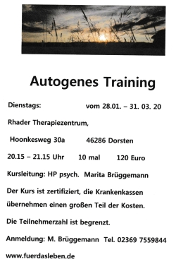Autogenes Training in Dorsten Rhade Matita Brüggemann